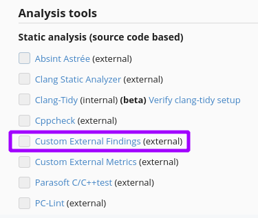Enable Custom External Findings