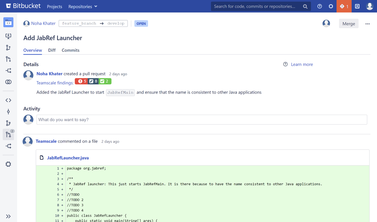 Screenshot of the Bitbucket Plugin's Findings Badge