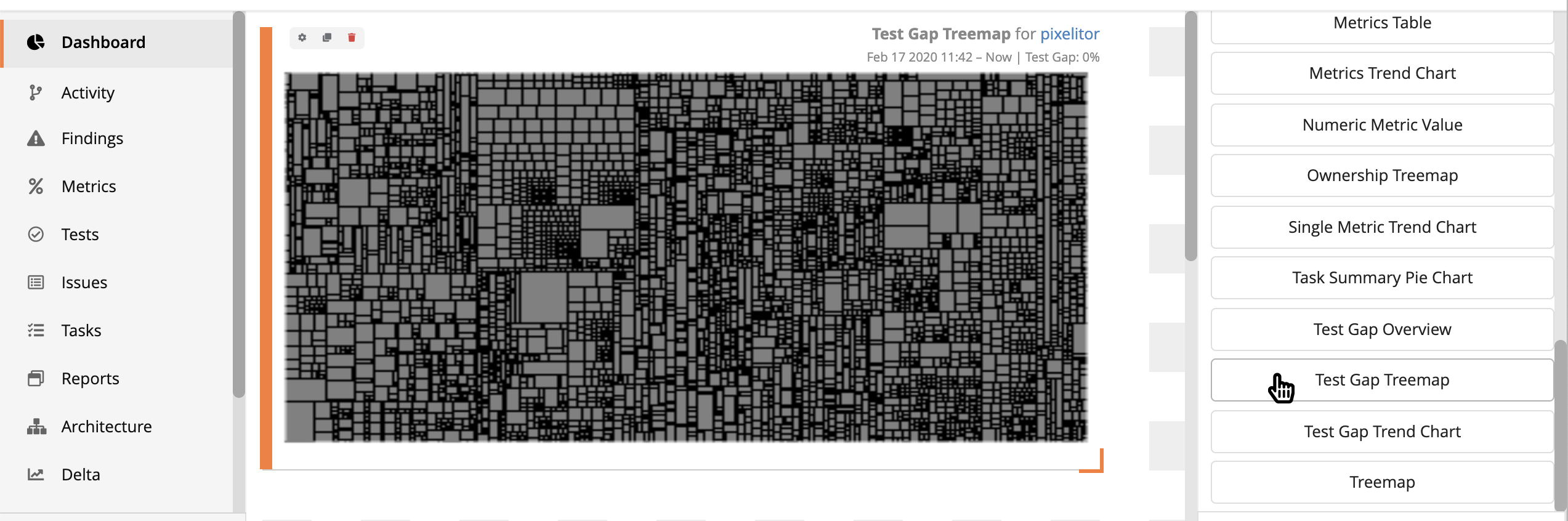 Adding a Dashboard with a Test Gap Treemap