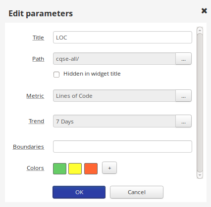 Edit Parameters for a Numeric Metric Value Widget