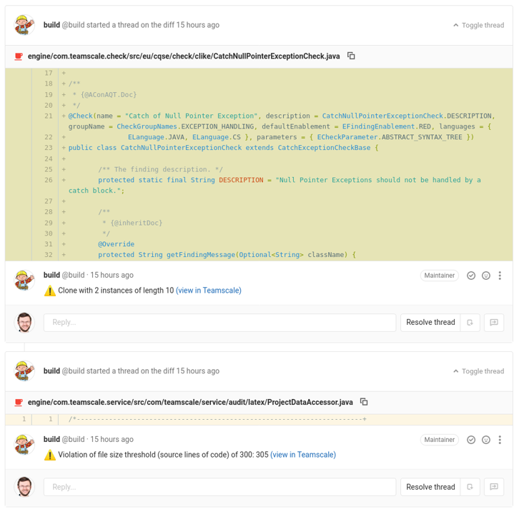 Screenshot of the GitLab Plugin's Line Comments