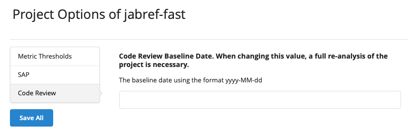 Code Review Baseline Date