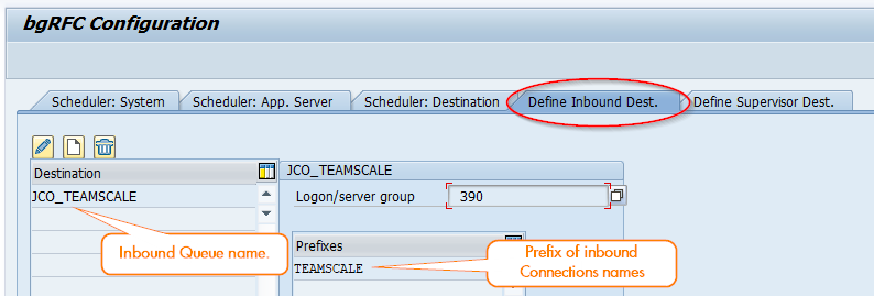 Define Destination Scheduler in SBGRFCCONF