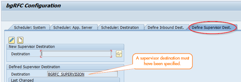 Define Supervisor Destination in SBGRFCCONF
