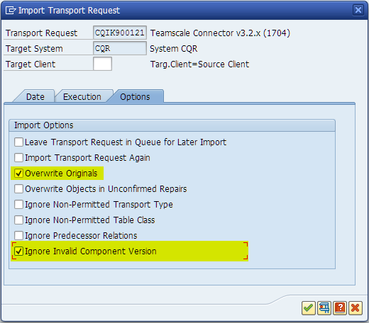 SAP Transport Import Options